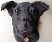 Sculpture - Personalized dog portrait  - hand painted sculpture - Pet portrait