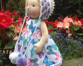 "Waldorf Doll - Patsy - 16"" Waldorf inspired doll, Steiner doll, cloth doll,organic waldorf doll with two sets of clothes"