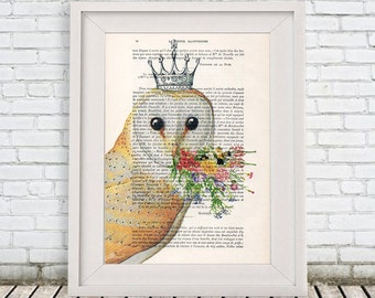 Acrylic paintings Illustration Original Prints Drawing Giclee Posters Mixed Media Art Holiday Decor Gifts: Owl with flowers