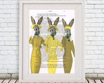 Retro Rabbit Print vintage style, Rabbit Print Butterfly Illustration Print Art Drawing Poster Digital Print Wall Art Wall Hanging
