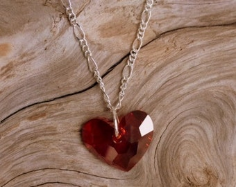 Red Swarovski Heart Necklace, Valentine's Necklace, .925 Sterling Silver Chain