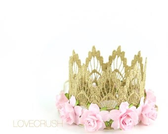 Ready to Ship    mini Sienna with baby pink flowers    gold lace crown headband   