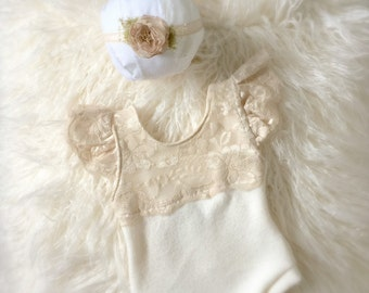 Newborn Neutral Lace Sweater Knit Romper Set, baby girl, sand, jumper, bodysuit, onesie, headband, tieback, photography prop
