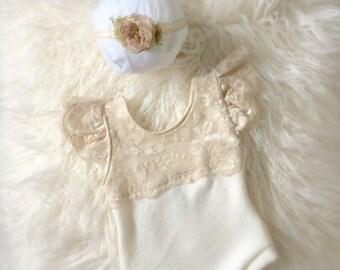 Newborn Neutral Lace Sweater Knit Romper Set, baby girl, sand, jumper, bodysuit, onesie, headband, tieback, photography prop
