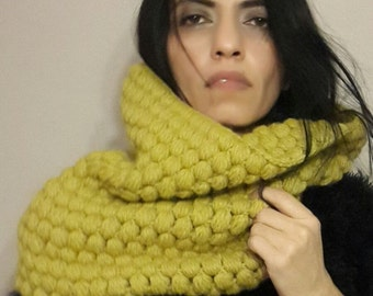 knitted chunky cozy loop scarf, infinity scarf, circle scarf,  cowl,  valentines day, yellow cowl, christmas gift for her bridal wedding