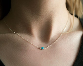 Tiny Turquoise Necklace / Sterling Silver Jewelry / Womens Gift / Jewelry Gifts / Friend Gift for Her