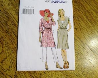 EASY Comfortable Summer Dress / Tunic Top w/ Drawstring Waistline & Pants - Size (Xsm - Sm - Med) - UNCUT Sewing Pattern Vogue 8985