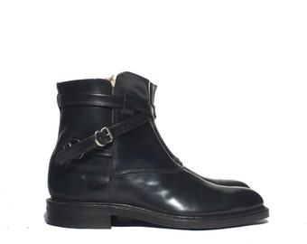 10 D| Vintage Men's Ankle Boots Wrap Around Strap and Buckle Moto Boots
