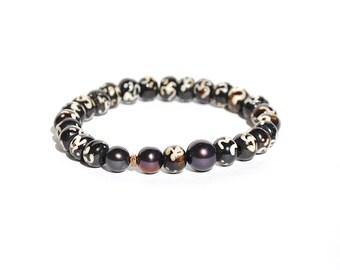 14k Black And White Pearl Pave Diamond Stretch Bracelet