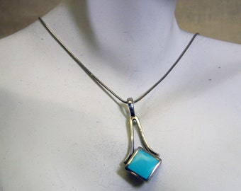Modern Sterling Turquoise Pendant Necklace