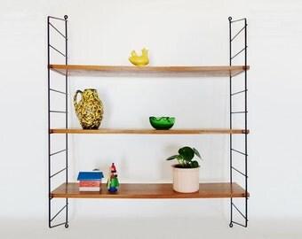 Mid Century String Wall Shelves Unit Black