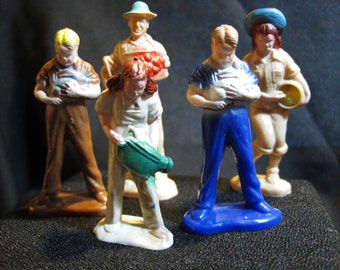 Bergen Toy & Novelty Co. Vintage Plastic Farmer Figurines