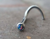 18g Black Opal Nose Ring / Opal Nose Screw