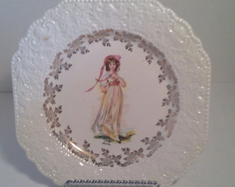 Lovely antique Lord Nelson Pottery square dinner plate - Pinky Lawrence - At Everything Vintage shipping is on us!