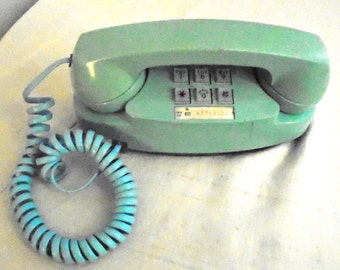 1960's Vintage Telephone Trimline or Princess Turquoise Phone Push Button Corded Phone Western Electric
