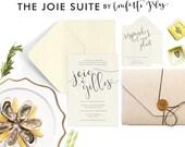 Wedding Invitation - French Wedding - Romantic Wedding Invitations - Calligraphy - Custom Wedding Invitations - The Joie Suite - DEPOSIT