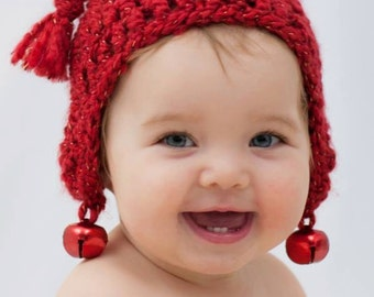 "Crochet Hat Pattern:""Jingle Bell Rock"",  Jingle Bells, Christmas Hat, Baby Holiday Fashion"