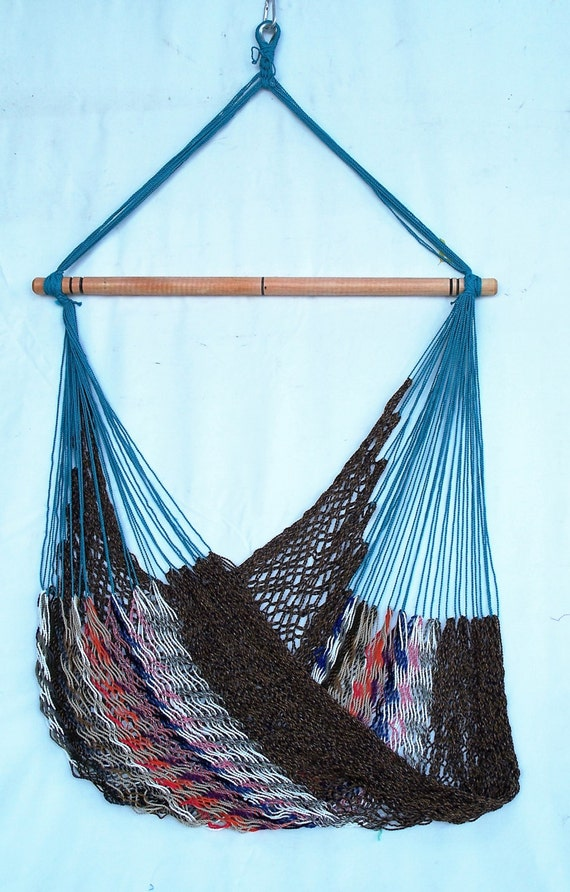 Hammock chair multicolor teal brown for Teal and brown chair