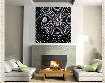 Ancient Spiral Minimalist Large Art Black White Beige Original Painting Canvas Modern Tribal Hand Painted Symbols Archaeology Circle