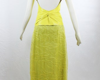 Sale Vintage GENNY ITALY Sexy Deadstock  Canary Yellow Plunging Leather Top and Matching Silky Full Length Maxi Skirt Gown Size 38/6