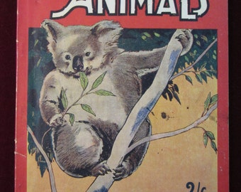 Vintage 1940 Illustrated Softcover Book Australian Animals by Walter Dowman