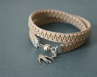 Bird Charm Wrap Bracelet Zipper Jewelry - Made with a tan zipper