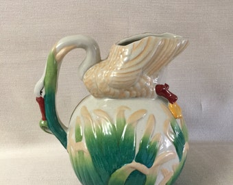 Majolica Pottery Swan  Water Pitcher Hand Painted 1950's