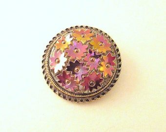 Western Germany Scarf Clip with Iridescent Purple Flowers - 1950s