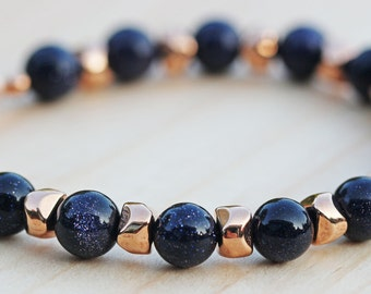 Blue Goldstone & Rose Gold Nugget Bracelet