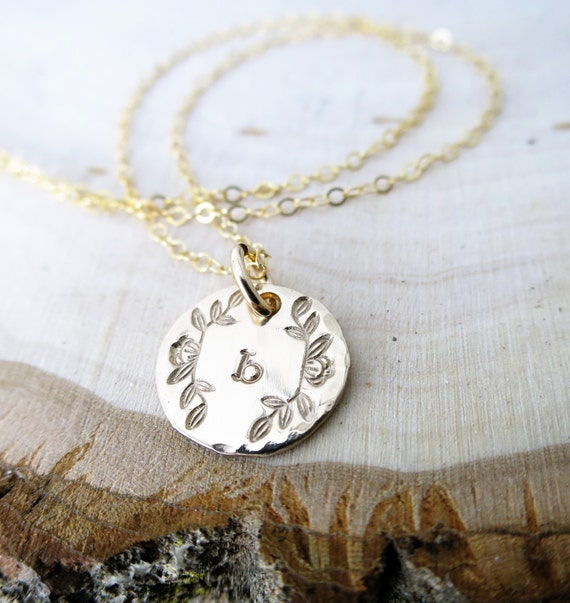 Initial Jewelry - Initial Necklace - Monogram Necklace - Gold Fill Pendant - Magnolia Flower - Typewriter Font - Custom Jewelry - Engraved