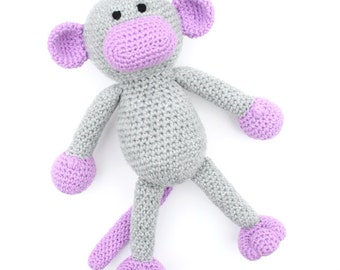 Millicent the Crochet Monkey -  grey and purple - *READY TO SHIP*