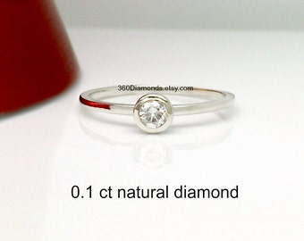 Diamond solitaire ring in 14k white gold, diamond engagement ring, diamond stack ring, birthstone ring, diamond promise ring, diamond band