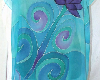 Blue silk top tunic, gifts for her, chiffon silk tunic, oversized top, silk caftan, hand painted silk, humming bird top, beach cover up