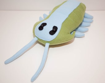 Extinct Trilobite Fossil Plush in Green and Light Blue