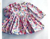 Girls Floral Dress Peter Pan Collar Dress Spring Dress Girl Summer Dress Pink Yellow Blue Floral Cotton Dress Long Sleeve Dress Flower Girl