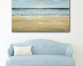 ORIGINAL Art Blue Abstract Painting Seascape Large Wall Art Acrylic Painting Home Decor Landscape Coastal Beach Decor Textured XL- Christine