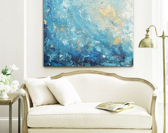 GICLEE PRINT Large Art Abstract Painting Blue White Wall Art Home Decor  Canvas Prints Coastal Wall