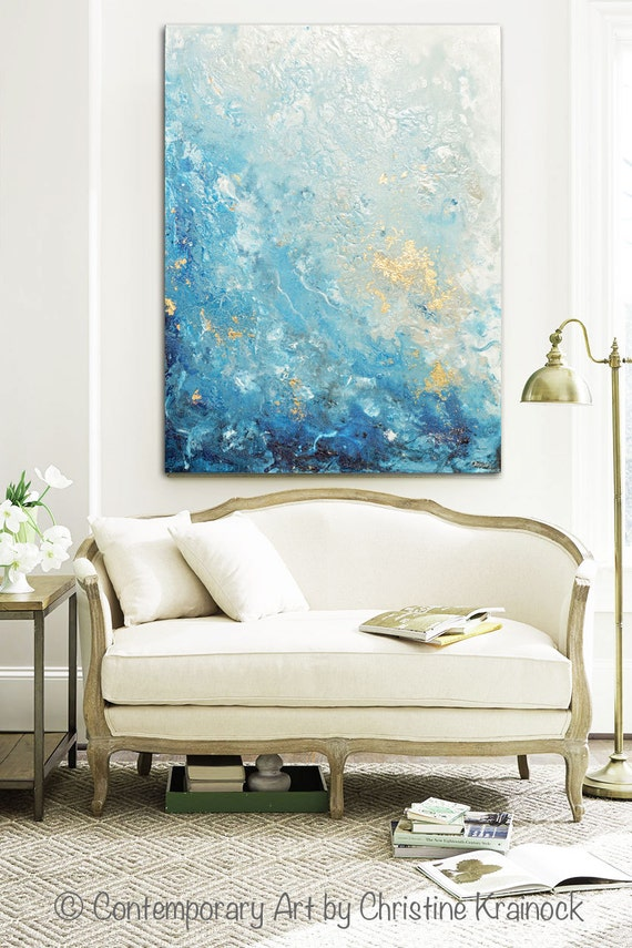 GICLEE PRINT Large Art Abstract Painting Blue White Wall Art