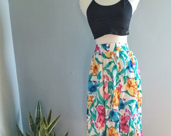 Vintage 80s Floral Print Midi Skirt