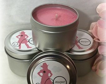 Little Cowgirl Themed Soy Candle Favor, Baby Shower Favor, Sweet Baby Girl, Custom, 2 ounce Metal Tin