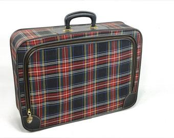 Plaid suitcase, luggage, tartan, kitsch, retro, blue, red, green, yellow, black, faux leather,