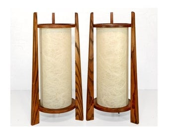 table lamps, craftsman, mission, arts and crafts, mid century, 1960s, adirondack, oak, fiberglass shade, hand crafted, signed, pair of lamps