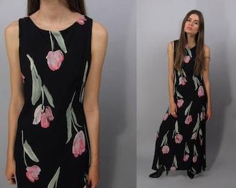Vintage 90s Floral Bias Dress, Floral Maxi Dress, Boho Dress, Grunge Floral Dress Δ size: md