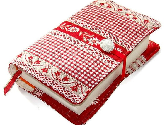 Large Fabric Book Cover : Large bible cover or book in red swiss gingham lace