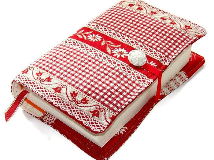 Checkered Cover Cookbook : Large bible cover or book in red swiss gingham lace