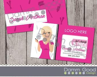 BUSINESS CARD- Avon inspired business card, portrait, custom illustration, business card