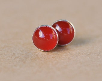 Carnelian Earrings handmade with Silver Studs, 6 mm Red Gemstones with Sterling Silver setting perfect for birthdays or other gifts.