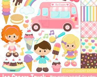 Ice cream Truck Clipart - Clip Art and Digital paper set - Icecream
