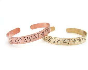 custom coordinates, men, latitude longitude bracelet - Personalized gift - hand stamped jewelry, coordinate bracelet - bangle cuff, men