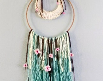 Wool Wall hanging, Natural Art Weaving, Nursery Decor, Felted Floral, Cherry Blossom, Hand Woven Handcrafted, Handmade Gift, New Parents